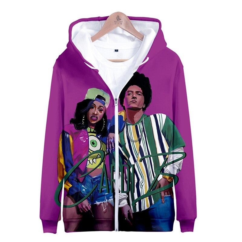 3d Fashion Rapper Hip Hop Cardi B Print Men Women Zipper Hoodies Jacket Casual Long Sleeve Zip Up 3d Hooded Sweatshirt Tracksuit