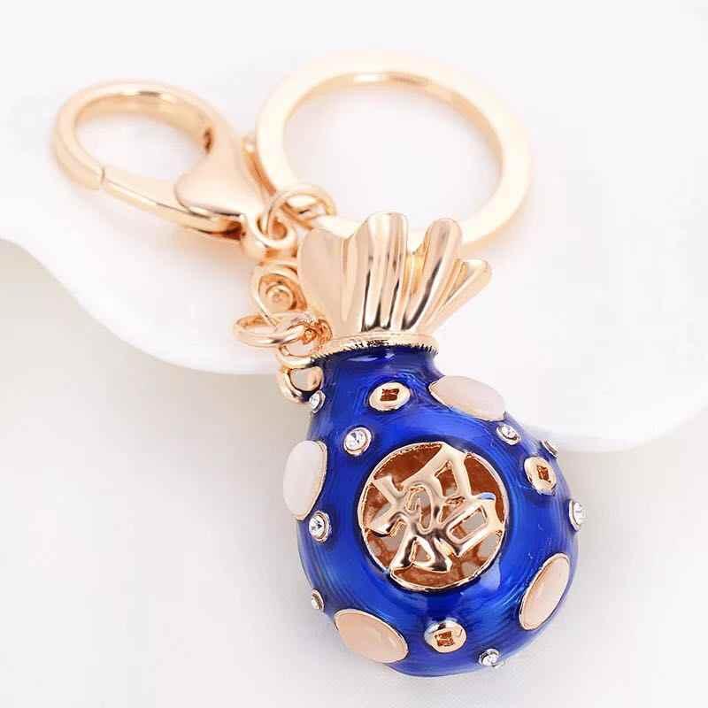 Clássico estilo Chinês sorte saco sorte saco de dinheiro saco de cristal da Forma do anel chave do carro chaveiro Feminino saco acessórios pingente keychain