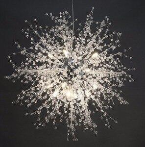 Image 4 - Lustre de cristal moderna iluminação globo lustres luz redonda acrílico pendurado lâmpada luminárias para casa restaurante decoração