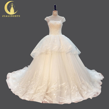 JIALINZEYI Real Picture New Arrival Sexy Cap Sleeves Fashion A-line Long Train Bridal Wedding Dresses wedding gown 2018