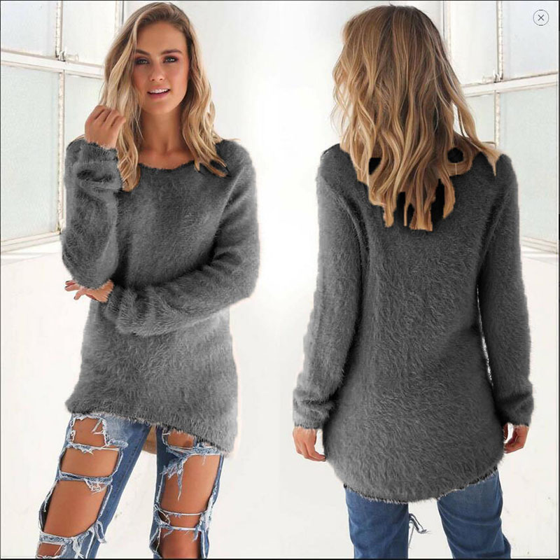 KLV 1Pc Woman Fashion Sexy Ladies Sweater Coat Long Sleeve Soft Smooth Warm