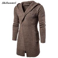 2017 Men Cardigan Autumn and Winter Cotton Hooded Cardigan Sweater Pull Homme Casual Christmas Sweater Hoodies Knitted Outerwear