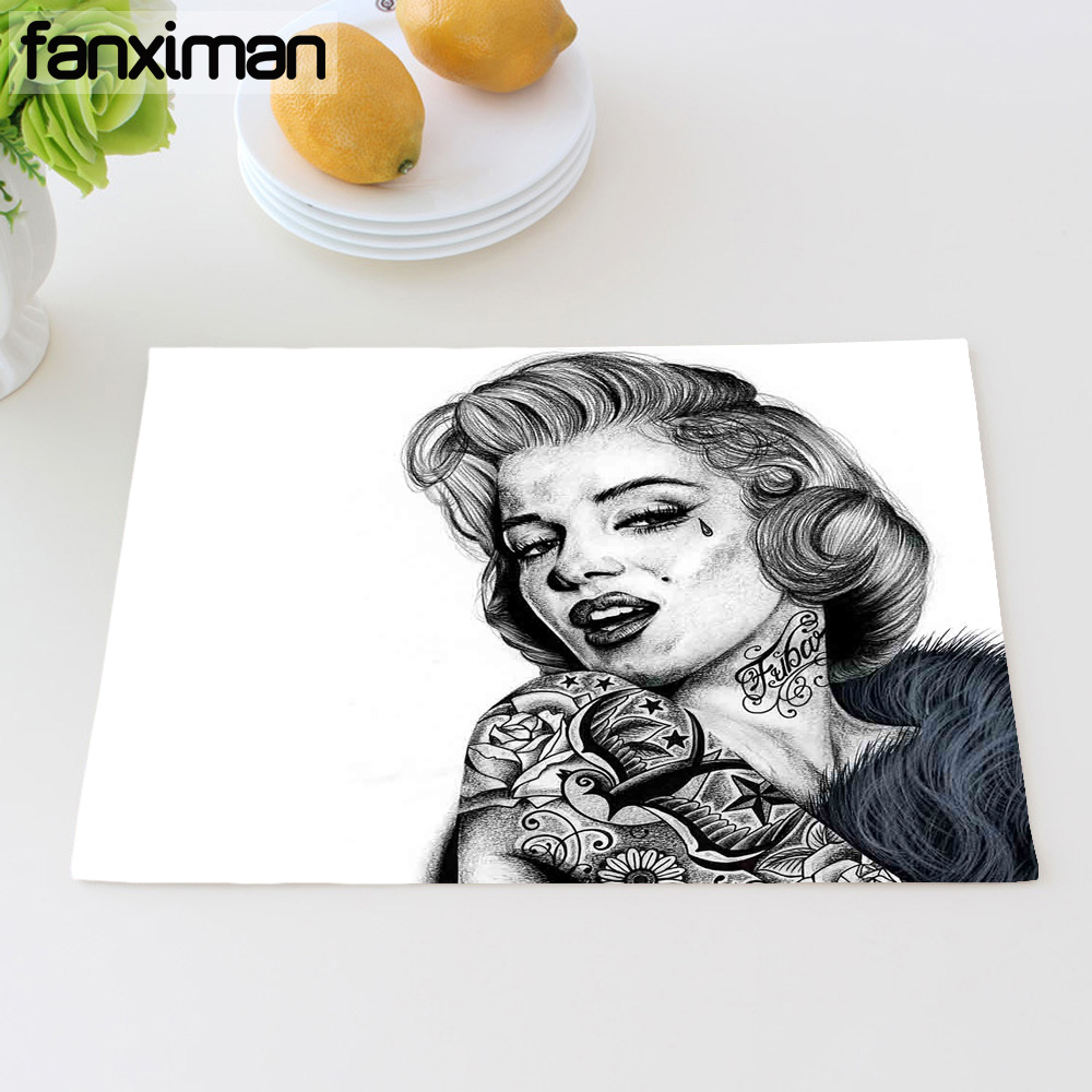 Personalized Celebrity Monroe Hepburn Table Mats For Dining Table Napkins Clown Placemats Heat Insulation Cup Coasters 42*32 CM