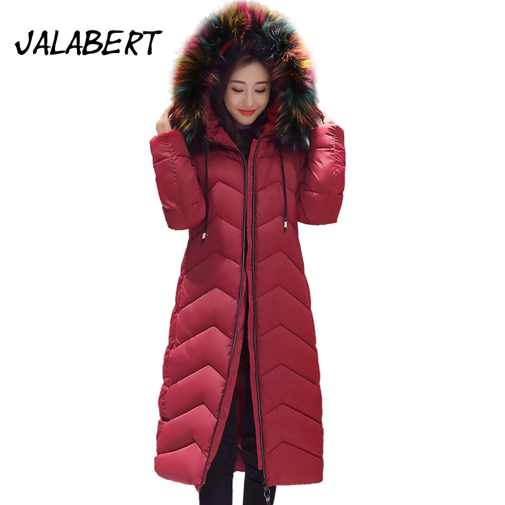 2017 New winter cotton coat women long wear thick Slim Solid jacket Female Big Fur collar cotton Parkas overdress 2017 winter new cotton coat women slim long hooded big fur collar jacket female solid overdress thick warm parkas