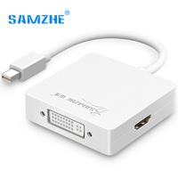 SAMZHE Mini DP Adapter To HDMI VGA DVI Port 3 In 1 Adapter Cable With Thunderbolt