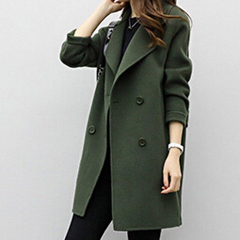 Women/'s Windbreaker Slim Fit Long Coat Jacket Lapel Spring Autumn Trench Coat US