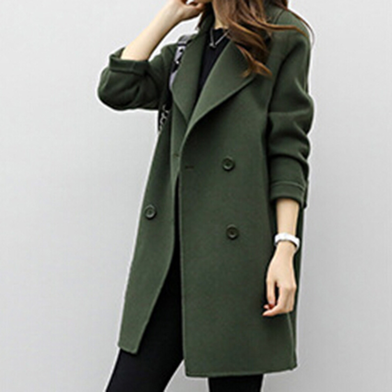 Bigsweety Women Wool Blend Coat New Medium-Long Loose Double-breasted Slim Type Autumn Spring Warm Trench Coats Female Overcoat