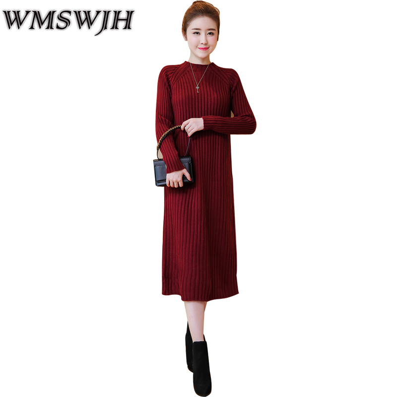 c0c2a0704db Women Winter Knit Dresses 2018 Europe Long Sleeve Round collar Casual Loose  Warm Maxi Sweater Dress