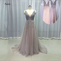 2017 Newest Stunning Bling Sexy Tulle Wedding Dresses Plunging V Neck Open Back Beading Sequined Bridal
