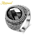 Ajojewel New Brand Male Jewelry White Gold Plated Vintage Grey Big Crystal Ring For Men