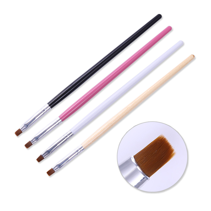 Nail Brush Pen Drawing Painting Flower Black Pink Handle Nail Powder Dust Clean Brush For UV Gel Polish Nail Art Tool