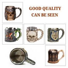 1Pcs 3D Stereo Cup Mug 301-400ml Skull Gothic Style Halloween Decoration resin stainless steel Skeleton Cup Beer Stein Man Gift cool shining discoloring skull cup transparent 400ml 2 x cr2025