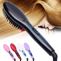 Free Shipping 2016 The New Brush Hair Straightener Comb Irons Electric Hair Straightener Brush Anti Scald