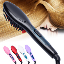 Free Shipping 2016 The new Brush Hair Straightener Comb Irons Electric Hair Straightener Brush Anti Scald Comb Auto Massager