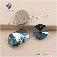 YANRUO #3200 8mm 168Pcs Rivoli Flatback Sew On Glass Strass Stone Crystal Rhinestone For Clothing Decoration