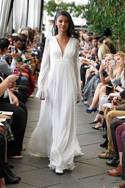 Hippie Wedding Dresses.Aliexpress Com Buy Long Sleeves Backless Hippie Wedding Dresses 2017 A Line V Neck Long Chiffon Summer Beach Boho Wedding Gowns Plus Size Maternity