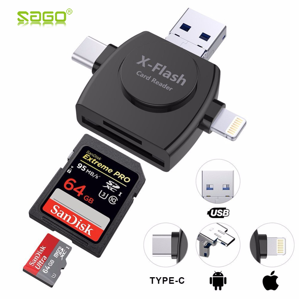 Sago 4 in 1 Type-c/Lightning/Micro USB/ Card Reader Micro SD Card Reader for iPhone/iPad/Android/Mac/PC with OTG Function micro usb 2 0 otg cable adapter elp male micro usb to female usb for samsung lg sony htc android smartphone with otg function