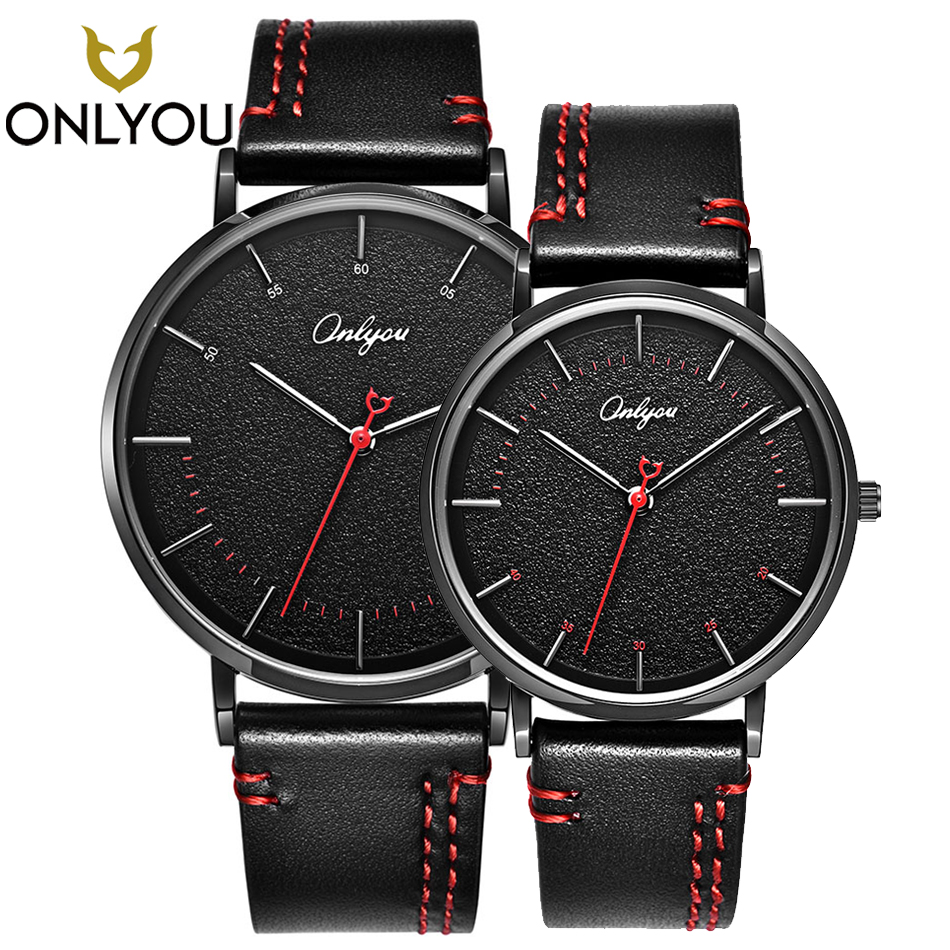 ONLYOU Fashion Couple Watches Sport Genuine Leather Strap Quartz Wristwatches Lover Gifts Casual Women Clock Men Waterproof