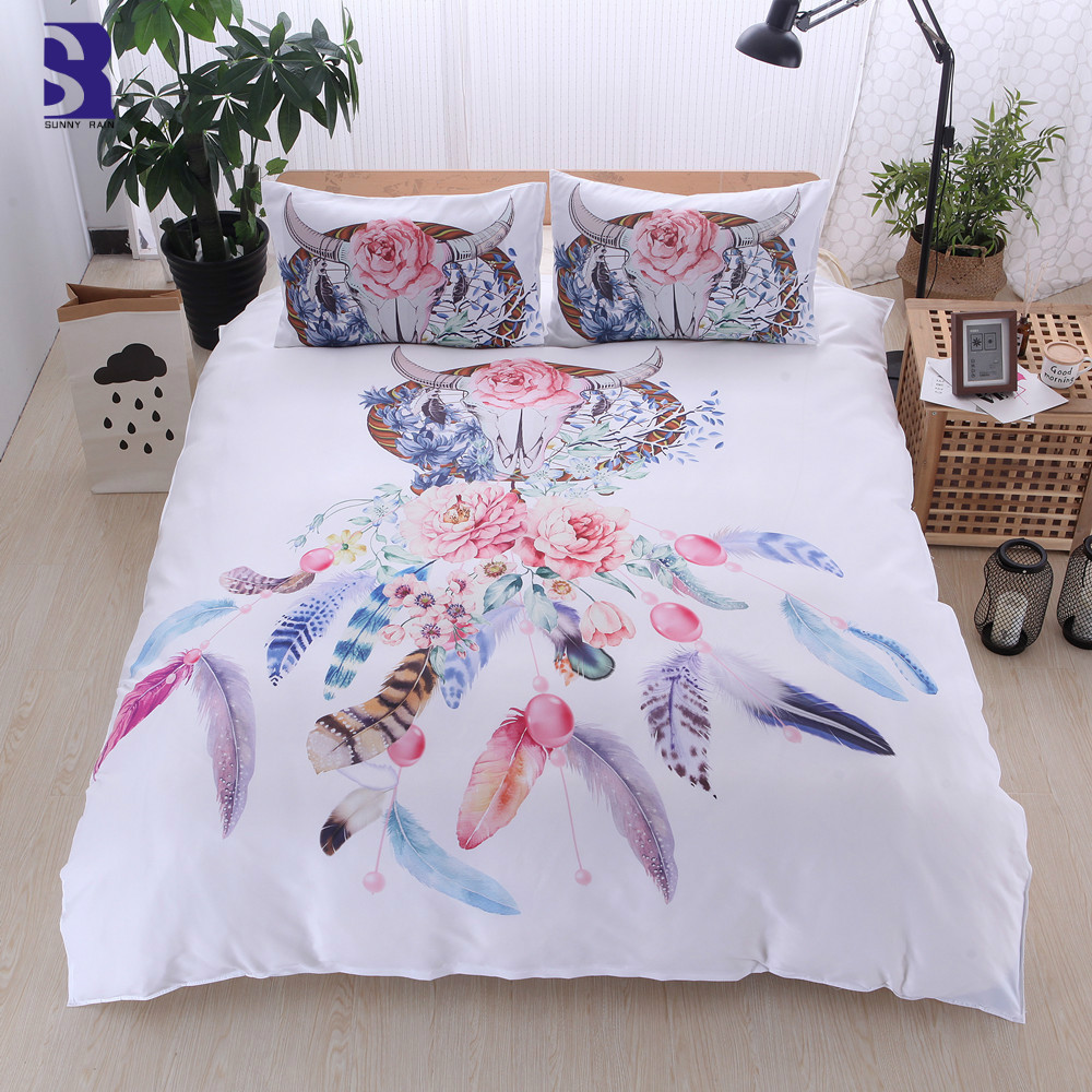 How Big Is A Queen Size Bed Uk Sunnyrain 3 Piece Dreamcatcher Duvet Cover Set Uk Us Twin Queen