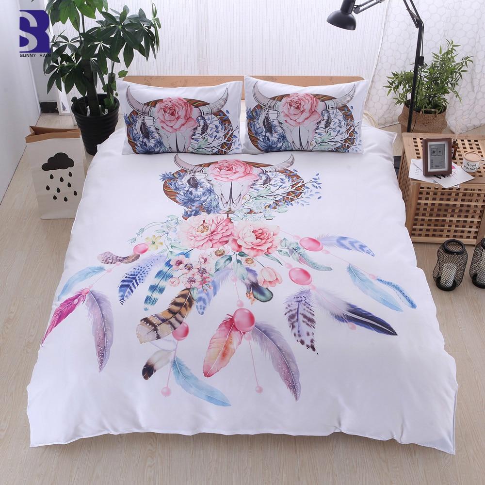 sunnyrain 3 piece dreamcatcher duvet cover set uk us twin. Black Bedroom Furniture Sets. Home Design Ideas