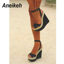 Aneikeh 2020 Rome Flock Sandals Women Buckle Strap Wedges High Heels Women's