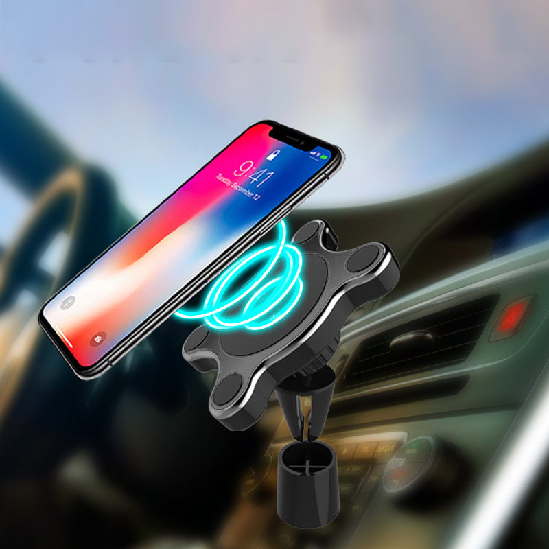 Car Phone Holder Universal Magnetic Car Mount Qi Wireless Charger For Samsung Galaxy Wireless Charging Phone Holder For IPhone