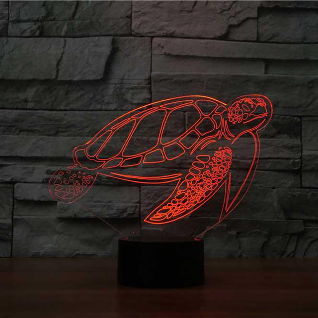 7 Colors Changing 3d Bedside Sea Turtle Led Nightlight Table Lamp