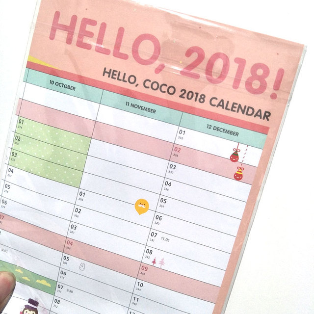 Year 2018 365 Days Drawing Daily Life Countdown Wall Calendar