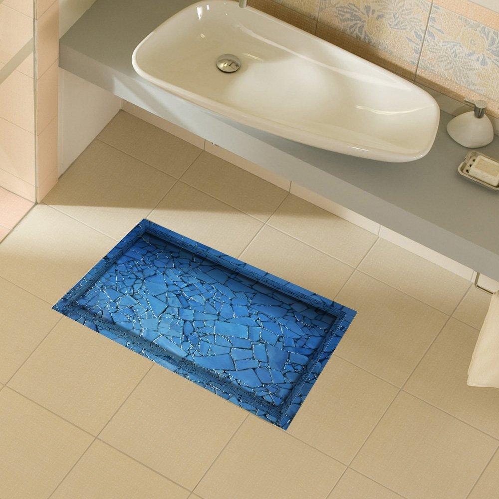 Blue Crack 3D Peel and Stick Waterproof Non Slip PVC Bathroom Floor ...