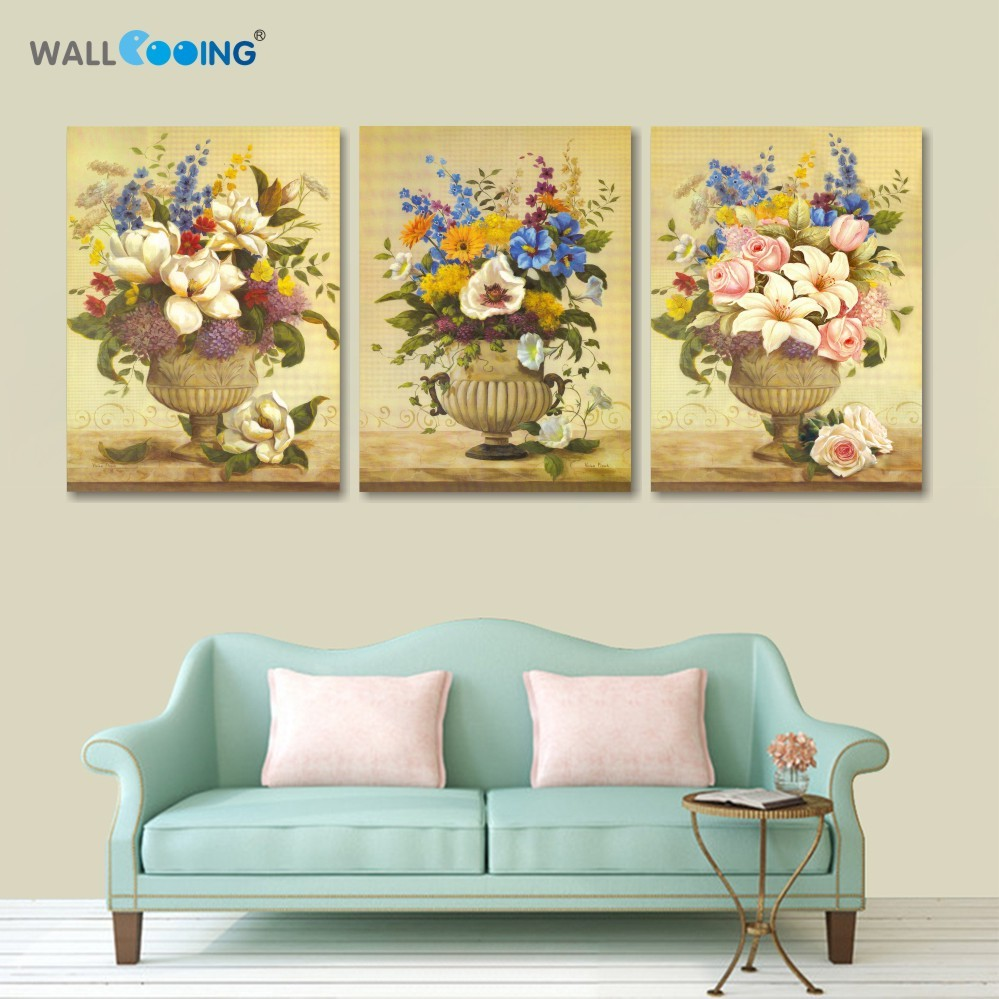 3 piece canvas art oil painting handmade women flower garden ...