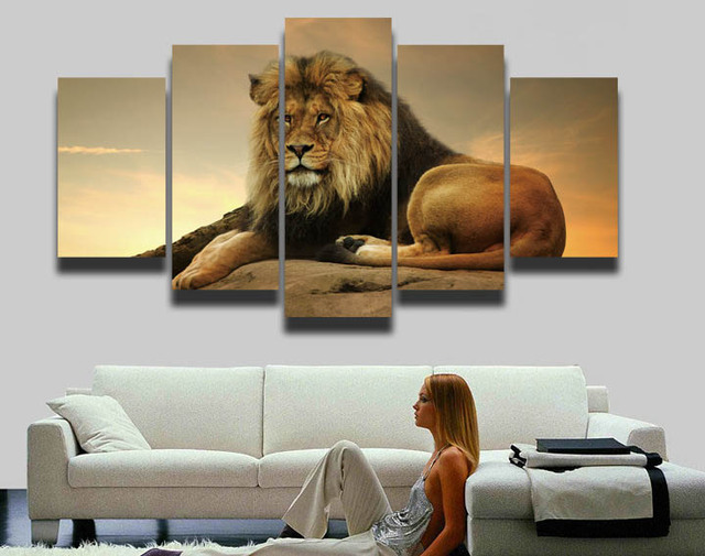 4 Panels Drop Shipping Unframed Home Decor Animal Lions Posters Modern Canvas Art Painting For Living