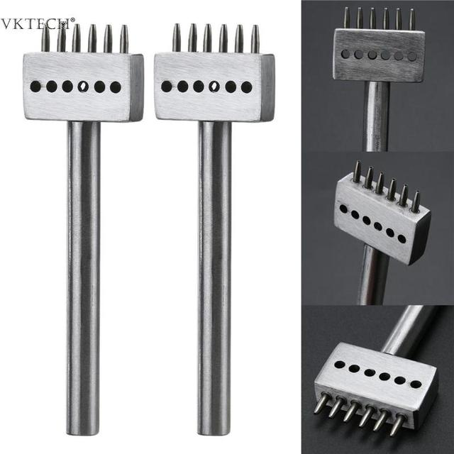 Steel 6mm 2/4/6 Prong Leather Tool Punch Spacing Row Circular Cut Hole Stitching Punch Cutter DIY Leathercraft Tools Accessories