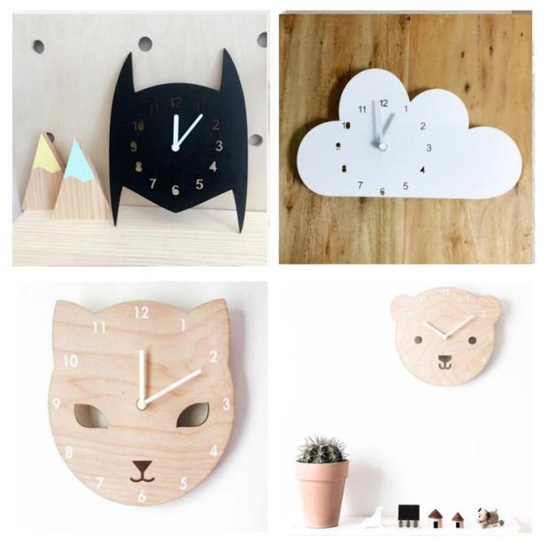 Nursery & Kids Decor Clock Nordic Style Batman,cat,Bear Wall Hanging Wood Toys Model Baby Kid Room Furnish Artic Home Decoration