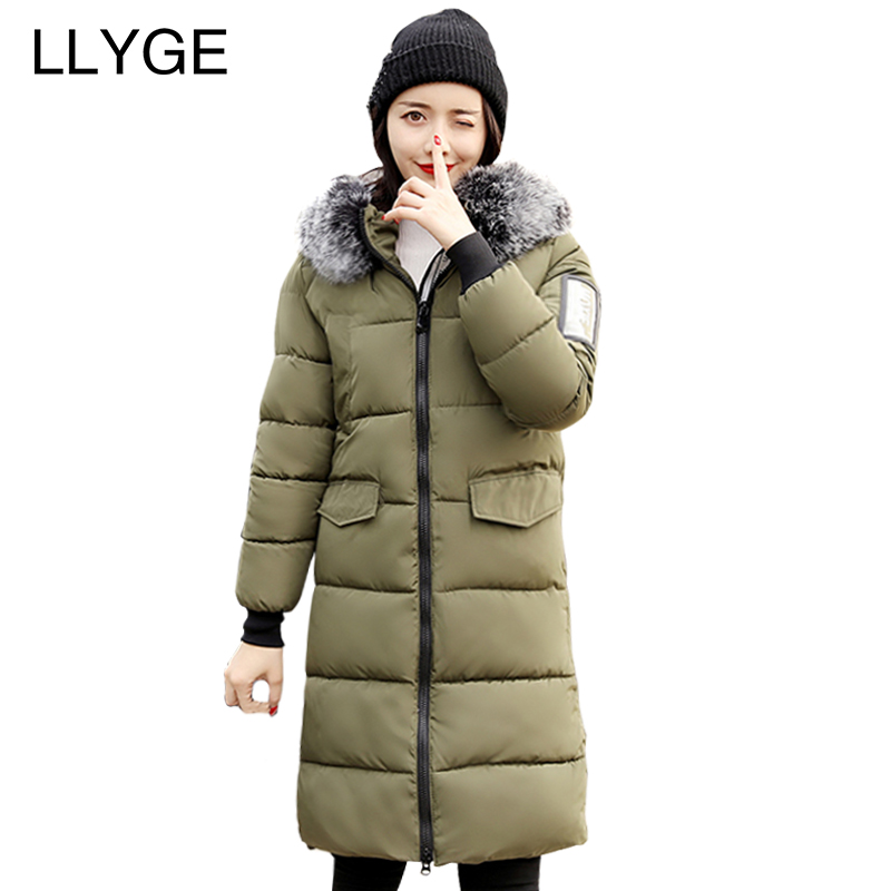 LLYGE Winter Jacket Women Thick Warm Fur collar Hooded Cotton Padded Coat Outwear Zipper Back Bandages Slim Long Parka Plus size