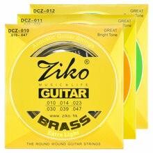 Ziko conjunto de cordas da guitarra acústica latão instrumentos musicais 6 cordas para a guitarra 010 011 012 peças da guitarra