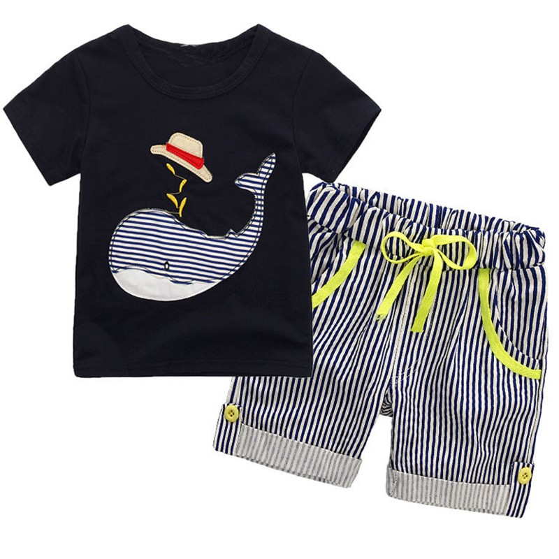 GUMPRUN Children Clothing Sets Summer Baby Boy Clothes Cute Whale Childrens Sets T-Shirt+Shorts 2Pcs Kids Boys Clothes