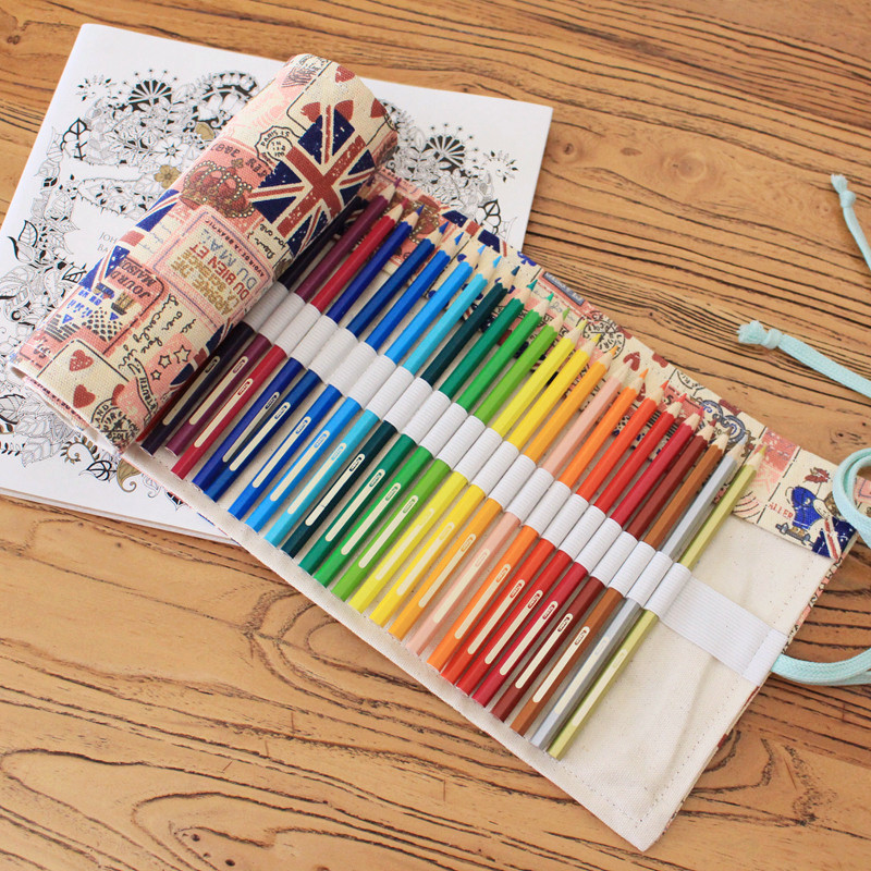 British flag style Canvas Pencil Case 36/48/72 Holes Roll School Pencil Bag material escolar School Supplies estuche escolar good quality 36 48 72 holes canvas pencil case roll up sketch painting pen box school office pencil stationery bag b066