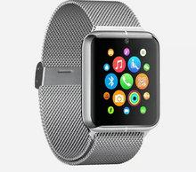 เงินZ50โทรศัพท์นาฬิกาสมาร์ทบลูทูธระบบGSM NFC G-sensorกล้อง1ซิมPedometerอยู่ประจำที่เตือนโทรSMSซิงค์สำหรับสมาร์ทโทรศัพท์
