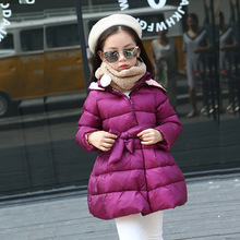 Girl's New Year Clothing Down Jacket Children White Duck Down New Year  A Lively Girl Dressed Down Jacket In Park Happy To Play