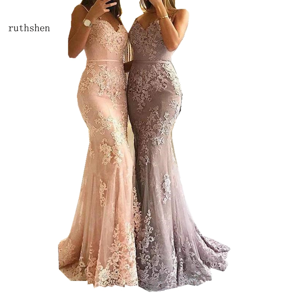 2019 Sexy Mermaid Evening Dresses Long Appliques Lace Prom Dress Spaghetti Strap Vestido de Noiva Party