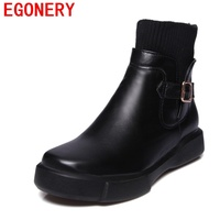 EGONERY Women Round Toe Ankle Boots Woman Side Zipper 2 Color Woman Shoes 2017 Winter New