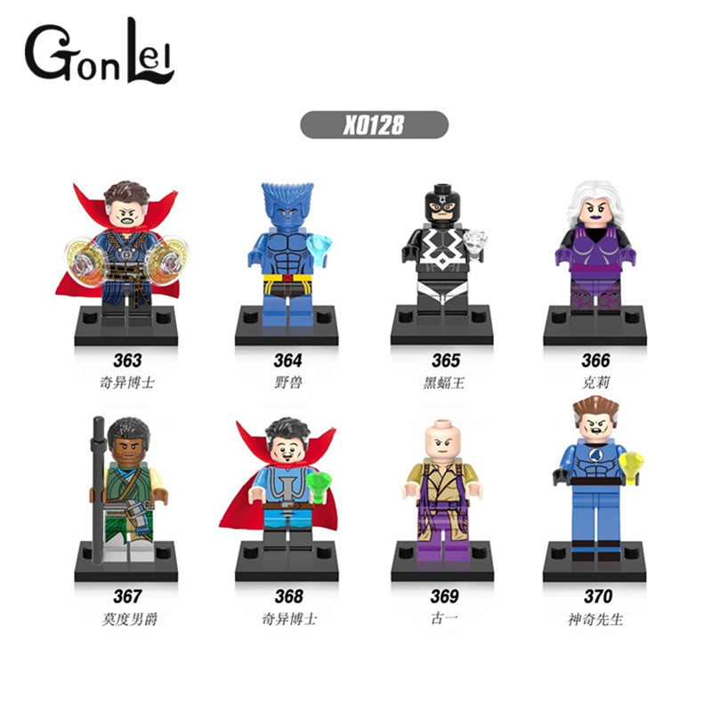 GonLeI 8pcs/lot Super Heroes Doctor Strange Mr. Fantastic Baron Mordo Clea Ancient One X0128 Building Blocks Toys