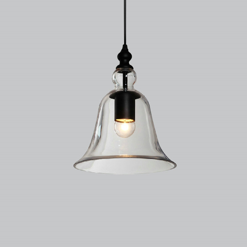 Vintage Pendant Lights Clear Glass Hanging Bell Pendant Lamp E27 Edison Light Bulb for Dinning Room Home Decoration Planetarium