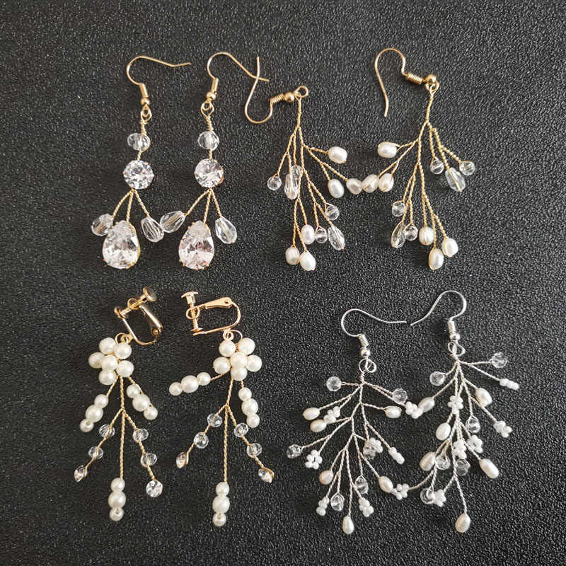 SLBRIDAL Rhinestones Crystals Freshwater Pearls Zirconia Wedding Chandelier Earring Dangle Bridal Earring Fashion Women Jewelry