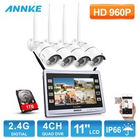 ANNKE 960P Wireless 11 Monitor 4CH NVR 1 3MP Day Night Security Camera System With 1TB