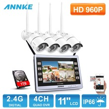 ANNKE 960P Wireless 11″ Monitor 4CH NVR 1.3MP Day Night Security Camera System with 1TB Harddrive