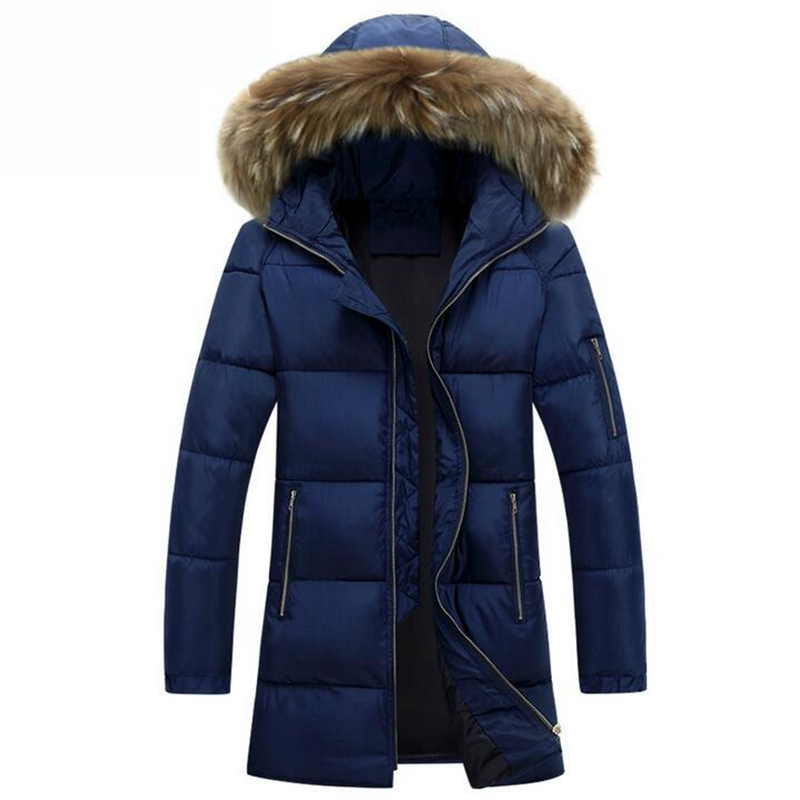 2017 New Warm Winter Men Cotton Down Jacket Men's Casual Slim Thick Jacket Coat Big fur collar hooded Fashion Style Parkas warm outwear male new 2015 winter new men warm down jacket collar casual cotton outdoor down jacket cotton fleece parka men