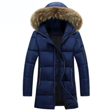 2017 New Warm Winter Men Cotton Down Jacket Men's Casual Slim Thick Jacket Coat Big fur collar hooded Fashion Style Parkas