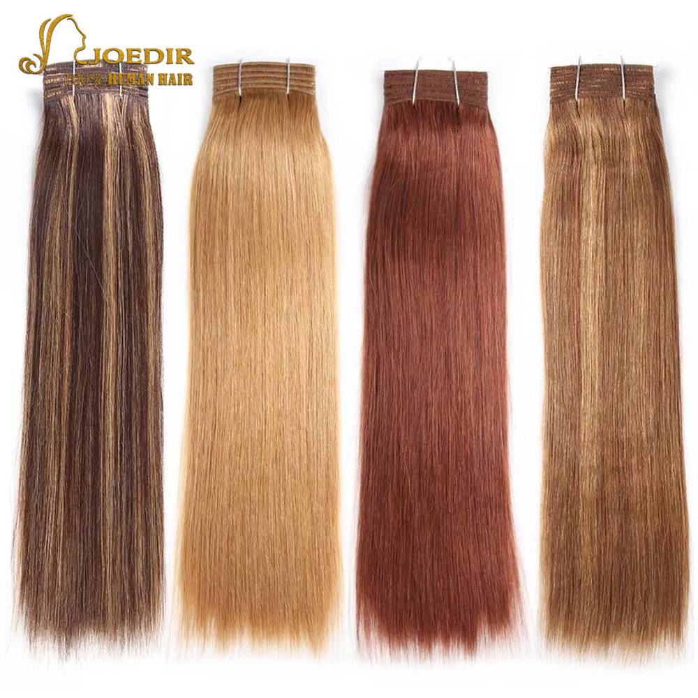 Joedir Pre-colored Straight Brazilian Hair 100% Remy Human Hair Weave Bundles Color 6 Medium Brown Color 8 Light Brown Free Ship(China)