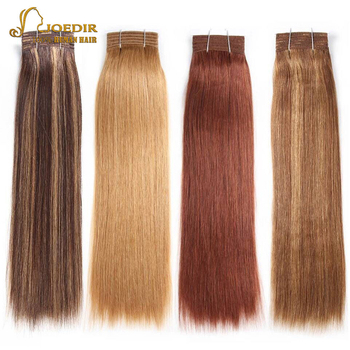 Joedir Pre-colored Straight Brazilian Hair 100% Remy Human Hair Weave Bundles Color 6 Medium Brown Color 8 Light Brown Free Ship